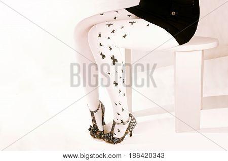 Legs in heels Woman legs wearing pantyhose and heels