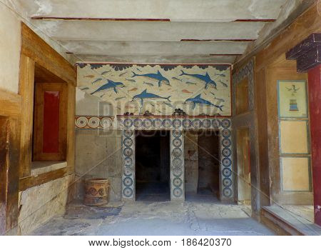 The Queen's Megaron in the Ancient Knossos, Archaeological site on Crete Island of Greece