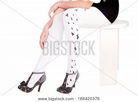 Legs in heels Woman legs wearing pantyhose and heels clipping path