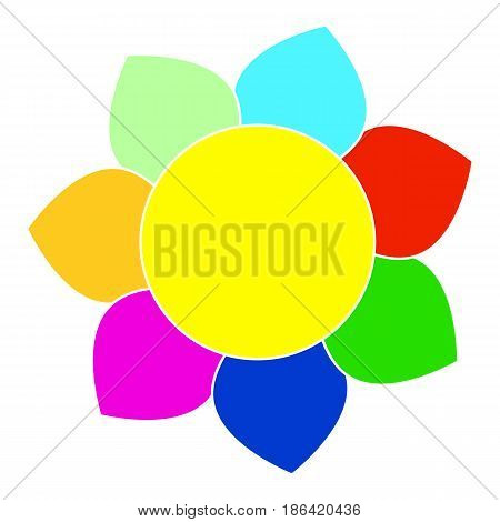 Vector picture of a fairy flower with seven multicolored petals flat style.