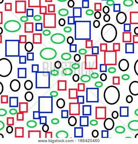 Vector seamless pattern of multi-colored primitive geometric shapes rectangles and ellipses flat style.