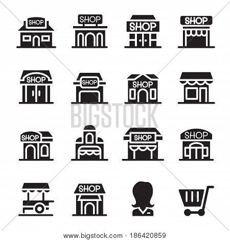 Shop building icon set in thin line style