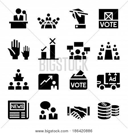 Voting Democracy Election icon set in thin line style