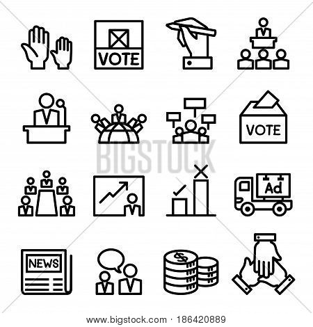 Vote election democracy icon set in thin line style