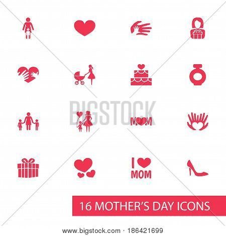 Mothers Day Icon Design Concept. Set Of 16 Such Elements As Hands, Emotion, Child. Beautiful Symbols For Ribbon, Fragrance And Heeled.