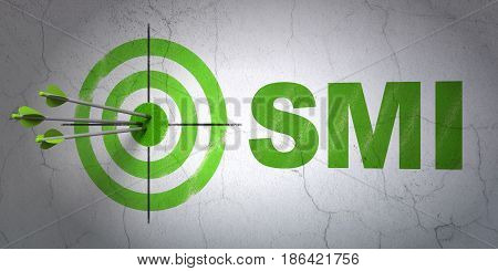 Success Stock market indexes concept: arrows hitting the center of target, Green SMI on wall background, 3D rendering