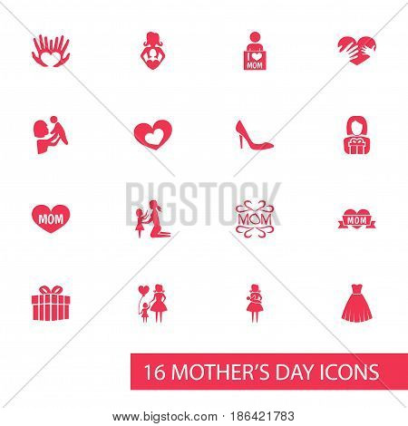Mothers Day Icon Design Concept. Set Of 16 Such Elements As Gift, Stiletto And Loving. Beautiful Symbols For Balloon, Text And Baby.