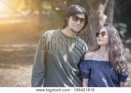 portrait of younger man and woman happiness emotion relaxing traveling lifestyle
