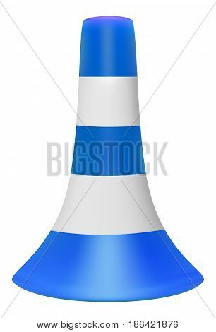 Vector 3D illustration of blue traffic cone with white stripes on white background