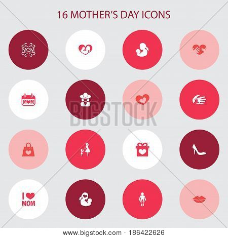 Mothers Day Icon Design Concept. Set Of 16 Such Elements As Package, Helping And Hat. Beautiful Symbols For Text, Loving And Lips.