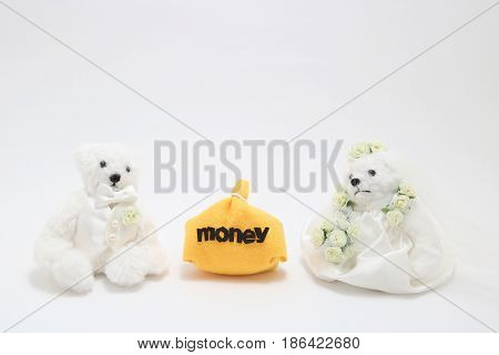 Newlyweds and money on white background. wedding budget concepts.