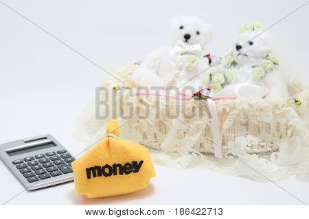 Newlyweds, money and calculator on white background. wedding budget concepts.