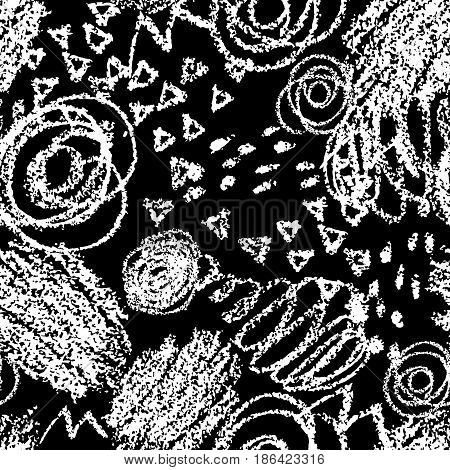Vector seamless pattern with brush strokes and dots. White color on black background. Hand painted grange texture. Ink geometric elements. Fashion modern style. Unusual. Look like chalk and blackboard. threadbare.