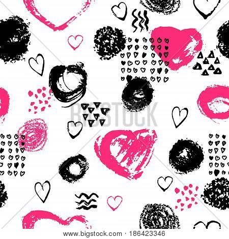 Vector seamless pattern with brush stripes and strokes. Black pink color on white background. Hand painted grange texture. Ink geometric and heart elements. Fashion modern style. Endless fabric print