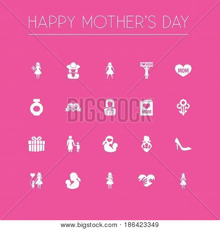 Mothers Day Icon Design Concept. Set Of 20 Such Elements As Gift To Mother, Woman And Child. Beautiful Symbols For Present, Gift And Son.