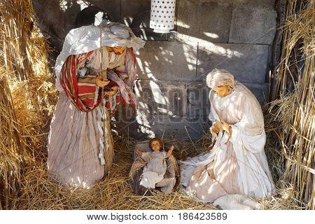 Christmas crib with figures and nativity - Mary, Jesus, Joseph