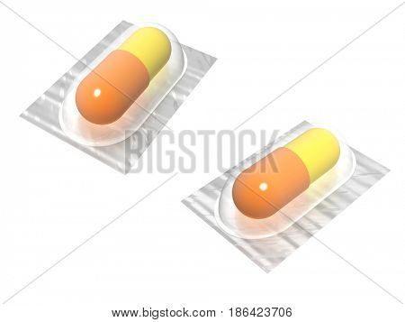 Yellow and orange pills or capsules in plastic packaging. View from different angles. Isolated on white background. 3d render