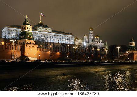 Grand Kremlin Palace, Kremlin walls, towers, Moskva river at night