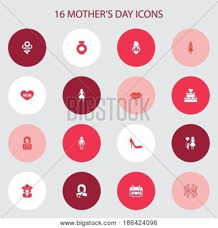 Mothers Day Icon Design Concept. Set Of 16 Such Elements As Nanny, Pastry And Flowers. Beautiful Symbols For Lady, Princess And Gift.
