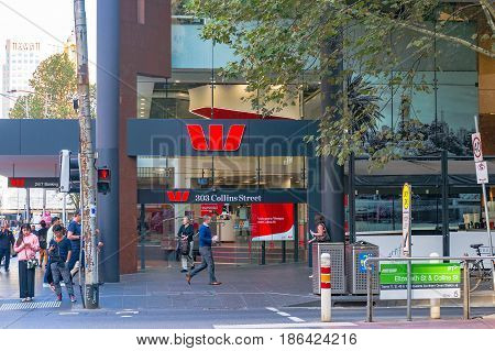 Westpac Bank Branch On Collins Street In Melbourne Cbd