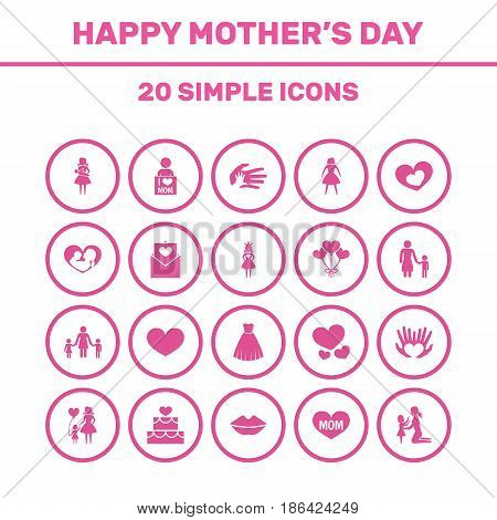 Mothers Day Icon Design Concept. Set Of 20 Such Elements As Child, Mother And Decoration. Beautiful Symbols For Princess, Lips And Palm.