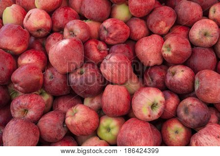 Background of ripe red apples at the village market.