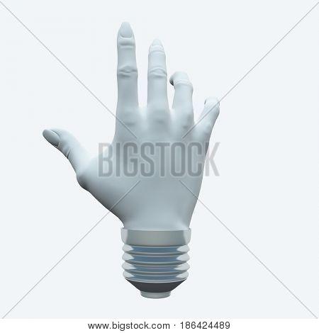Light bulb in Human's hand shape.   3D rendering