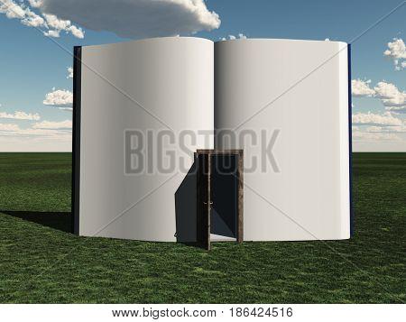 Book with open door   3D rendering