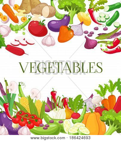Vegetable and healthy food menu poster. Fresh carrot, tomato, onion, broccoli, cabbage, garlic, cucumber, chili pepper and radish. Vegetarian food, organic shop design. Cartoon style vector illustration