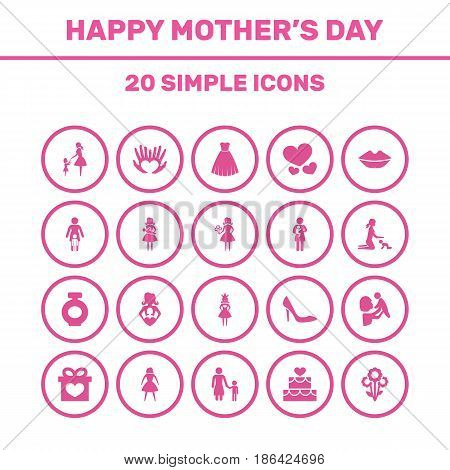 Mothers Day Icon Design Concept. Set Of 20 Such Elements As Kid, Stiletto And Evening Gown. Beautiful Symbols For Woman, Person And Gift.