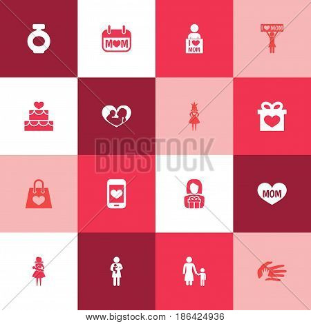 Mothers Day Icon Design Concept. Set Of 16 Such Elements As Fragrance, Queen And Cellphone. Beautiful Symbols For Child, Baby And Perfume.