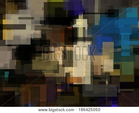 Colorful Abstract Geometric Painting   3D rendering