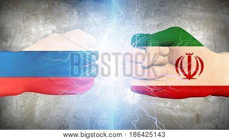 Iran vs Russia   3D rendering
