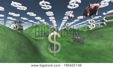 Money success fantasy landscape with floating pigs   3D rendering