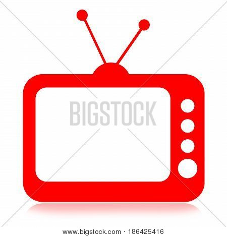 Red TV box with blank white screen isolated on white background