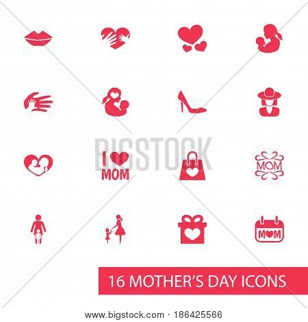 Mothers Day Icon Design Concept. Set Of 16 Such Elements As Stiletto, Lady And Relations. Beautiful Symbols For Heart, Care And Mam.