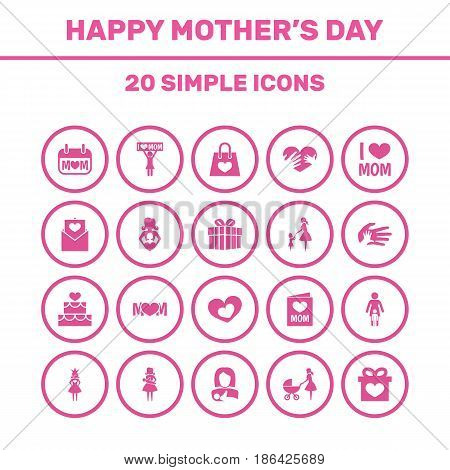 Mothers Day Icon Design Concept. Set Of 20 Such Elements As Pastry, Package And Design. Beautiful Symbols For Loving, Soul And Package.
