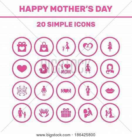 Mothers Day Icon Design Concept. Set Of 20 Such Elements As Protect, Relations And Soul. Beautiful Symbols For Gift, Mother And Hand.