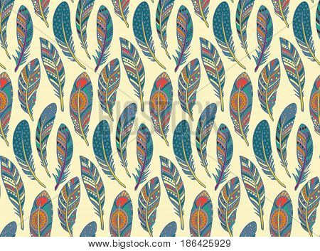 Vector seamless pattern with hand drawn ornate tribal colorful feathers. Ethnic endless background.