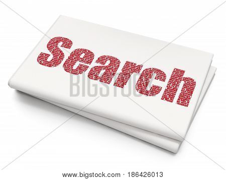 Web design concept: Pixelated red text Search on Blank Newspaper background, 3D rendering