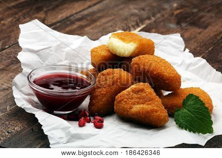 Fried Camembert With Cranberry Sauce