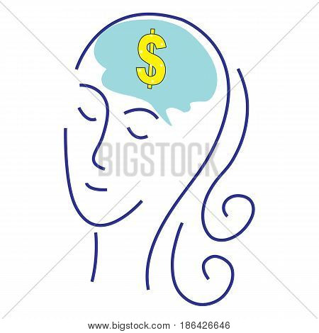 A womans head with gold dollar sign symbol. Concept for thinking or dreaming about making money or business success or having a money making idea.