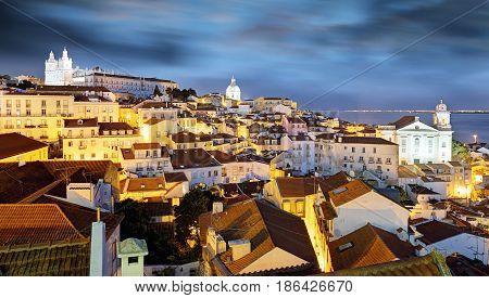 Lisbon at a night, Alfama city, Portugal