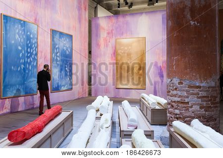 VENICE ITALY - MAY 10: Installation view of the work by Thu Van Tran at the 57th Venice Biennale on May 10 2017