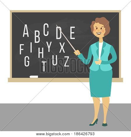 Young female teacher on lesson at blackboard in classroom. Teacher with pointer, teacher showing on board. Cartoon style vector illustration