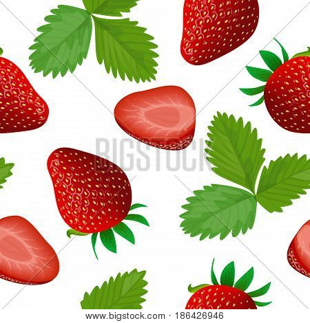 Ripe juicy Strawberry isolated on white. Whole, slice and leaf. Close up. seamless pattern vector. for food design, cooking, cosmetics, health care, ointments, perfumery, label, wrapping, decoration