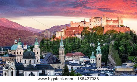 Salzburg castle at a sunrise - Hohensalzburg Austria