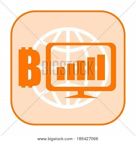 Bitcoin growth orange icon with computer monitor and Earth globe