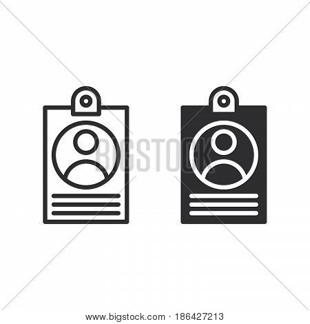 User badge line and solid icon outline and filled vector sign linear and full pictogram isolated on white. Id card symbol logo illustration