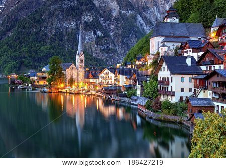 Hallstatt at a night in Austria Alps